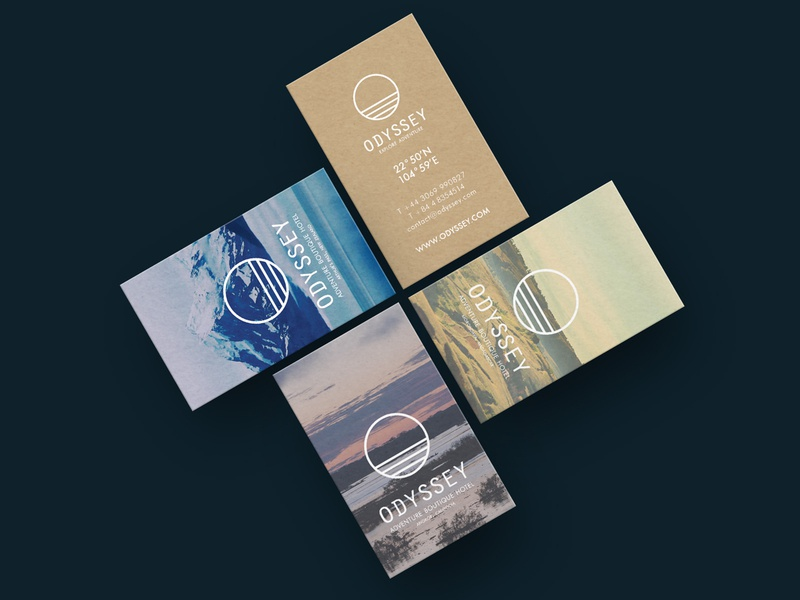 Odyssey Branding Stationery luxury adventure landscape horizon ocean business cards visual design brand identity logo design branding logo boutique hotel hotel