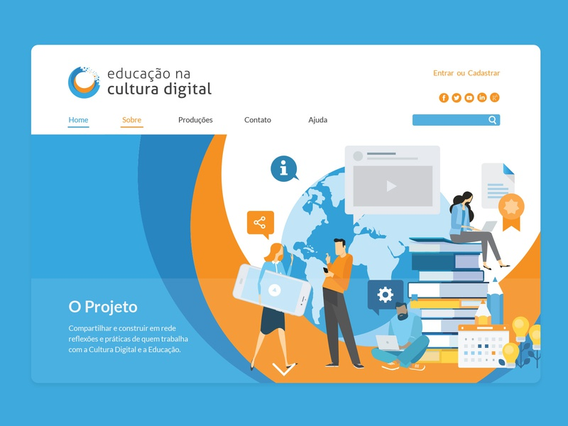 Educação na Cultura Digital UI circular logo orange blue vector education website educational education site website branding brand ui