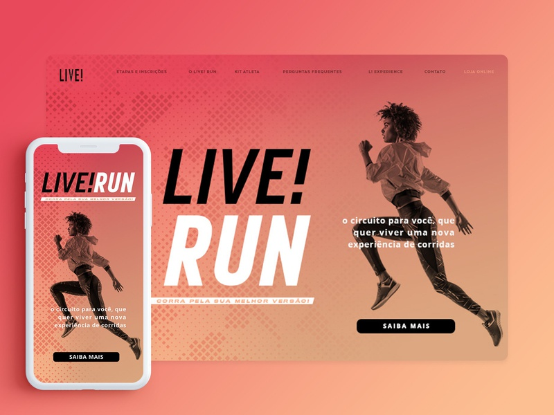 LIVE! Run gradient experience training sportswear sports runner runing mobile ui mobile website ui design ui