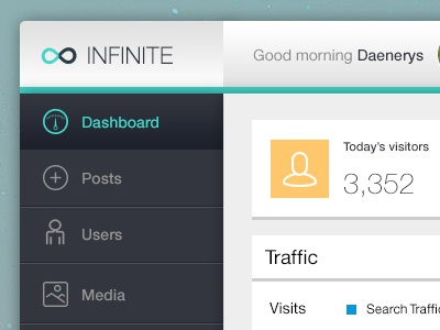Infinite Admin - Free PSD - Detail admin dashboard web admin design slim dashboard traffic visits free psd psd
