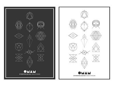 OMAM T-Shirt symbols lines vector omam t-shirt