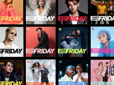 Rebranding of Spotify New Music Friday identity branding new music friday logo typography cover art system editorial colors playlist covers music spotify
