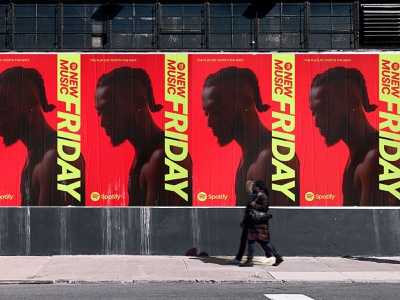 Posters for Spotify New Music Friday branding ooh wall wildposting green neon poster design logo typography music spotify