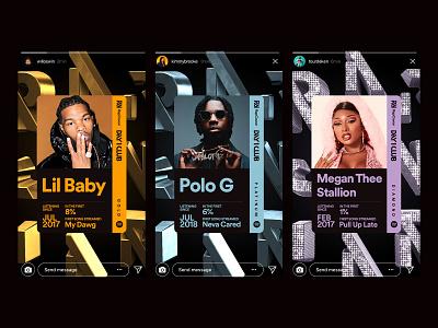 RapCaviar Day 1 Club Share Cards rank levels fandom fans social music status hip hop rapcaviar share cards artists interactive ui spotify