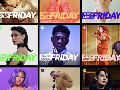 New Music Friday playlist covers system colorful wordmark logo artists typography design spotify branding music