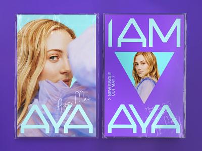AYA MAI blue purple type geometric logo artists design typography music branding
