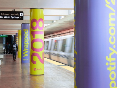Spotify 2018 Wrapped outdoor campaign ooh typography big type print colorful 2018 campaign wrapped music spotify