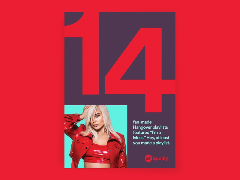 Spotify 2018 Wrapped poster typography big type numbers red colors outdoor campaign campaign bebe rexha music wrapped artists spotify