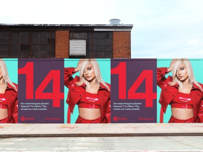 Spotify 2018 Wrapped ooh sidewalk colorful color scheme big type big numbers 2018 artist outdoor campaign campaign wrapped music bebe rexha spotify