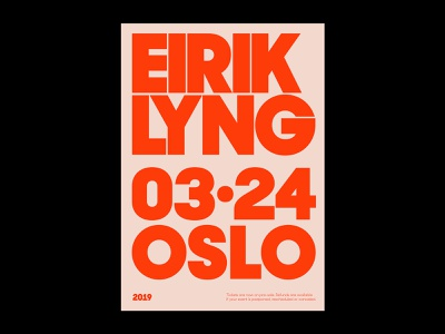 Eirik Lyng poster norway big all caps tour music typo concert red typography bold