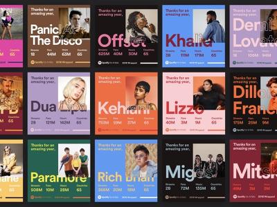 Spotify 2018 Wrapped branding web design campaign brand colors stats summary artists social media music share cards social design wrapped spotify