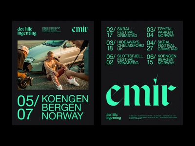 EMIR blackletter editorial posters concert tour typography norway green black artist identity poster music
