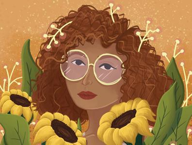 Flowers summer curly hair sunflowers flowers children book illustration girl nature woman charactedesign children art art illustration