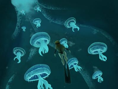 Harmony blue jellyfish ocean sea diving girl nature environment art enviroment design charactedesign children book illustration children art art illustration