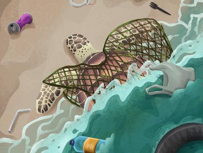 Future ecology pollution zerowaste ocean sea plastic trash tortoise turtle animal nature environment art enviroment design charactedesign children book illustration children art art illustration