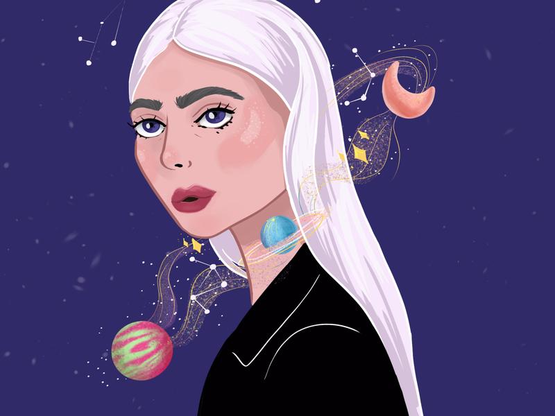 Space Girl girl illustration galaxy silver hair planets space illustration space girl woman design charactedesign children book illustration children art art illustration