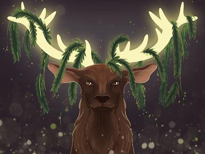 Spirit guide magical horns deer stag animal illustration animal nature children book illustration children art art illustration
