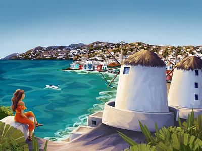 Mykonos mykonos ocean nature windmills mediterranean sea coast beach seaside travel illustration traveling travel girl environment art woman enviroment charactedesign children book illustration art illustration