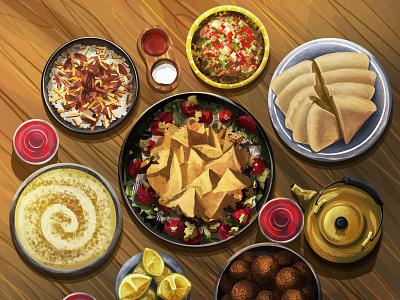 cultural cuisine tea pita bread falafel veggies vegan food vegan dinner kitchen hummus food illustration food children art children book illustration art illustration