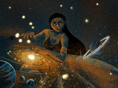 Birth magic mythology myth stars planets universe girl woman nature enviroment design charactedesign illustration