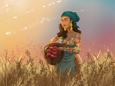 Harvest field summertime sunset summer harvest girl environment art woman nature charactedesign children book illustration children art art illustration