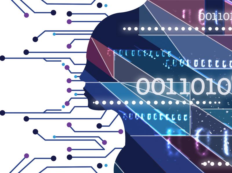 Code digital art digital illustration technology tech silhouette blue binary code binary matrix code branding logo woman charactedesign art illustration