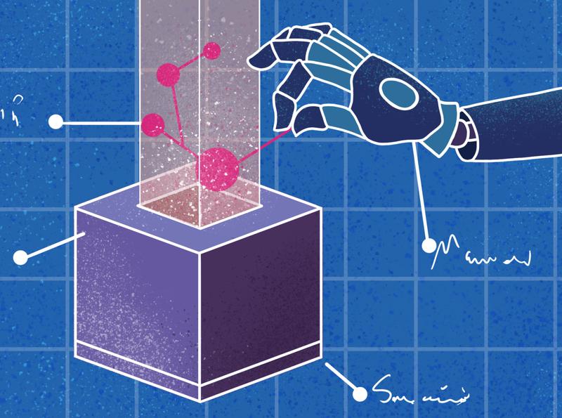 Blueprint design plans cube innovation technology android robot blueprint branding charactedesign children book illustration art illustration