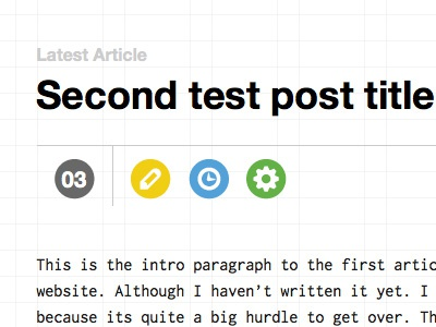 Article website typography grid layout icons