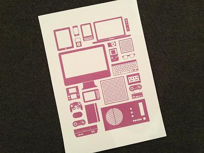 Devices illustrator screenprinting print illustration vector devices printing