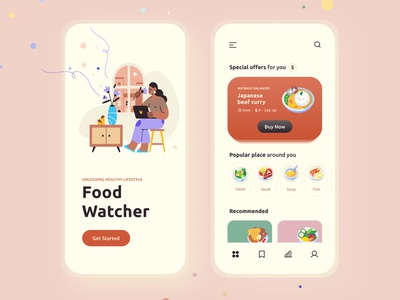 FoodWatcher local business nutrients uiux illustraion design get started food app