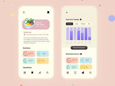 FoodWatcher bar graph food app design illustraion uiux nutrients local business
