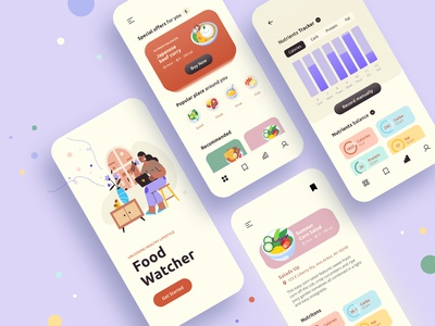 FoodWatcher calories bar graph food app get started design illustraion uiux nutrients local business