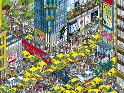 Wheres Stig? New York illustration illustrator isometric pixel art vector art city new york cityscape detail crowds