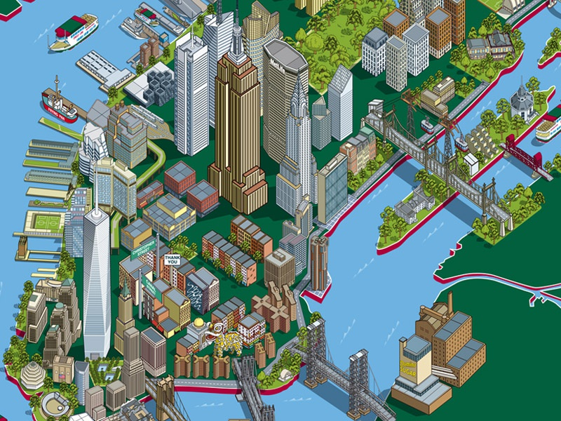 Map Of New York City With Landmarks.Circle Line Sightseeing Cruises 101 New York Sights Map By Rod Hunt