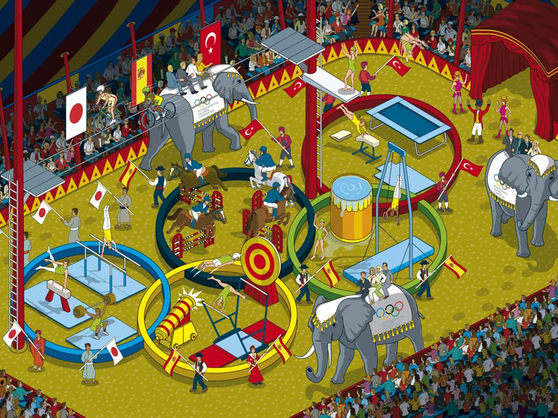 Five Ring Circus - The Race for 2020 Olympic Games detail graphic magazine illustration illustrator pixel art isometric vector editorial olympics sport animals