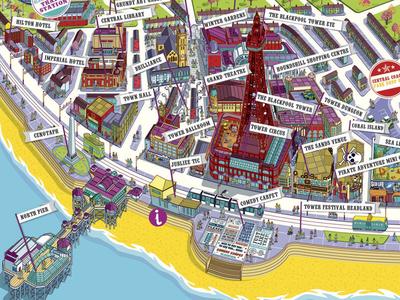 Visit Blackpool Resort Map Illustration - detail