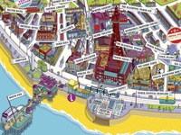 Visit Blackpool Resort Map Illustration - detail