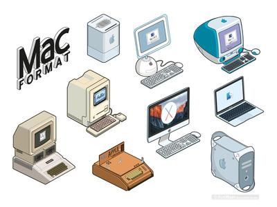 Retro Apple Sticker Illustrations: MacFormat Magazine graphic vector illustrator technology computers apple isometric icon icons pixel art illustration