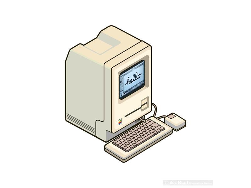Macintosh illustration for MacFormat Retro Apple Sticker Set pixel art vector technology isometric illustrator illustration icons icon graphic computers apple