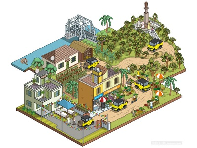 Vegetable Business: Multix Utility Vehicle Testimonials Campaign pixel art travel isometric illustrator illustration cityscape city cars business automotive advertising advert