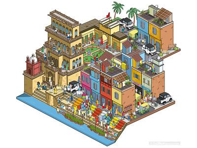 Laundry Business: Multix Utility Vehicle Testimonials Campaign pixel art travel isometric illustrator illustration cityscape city cars business automotive advertising advert