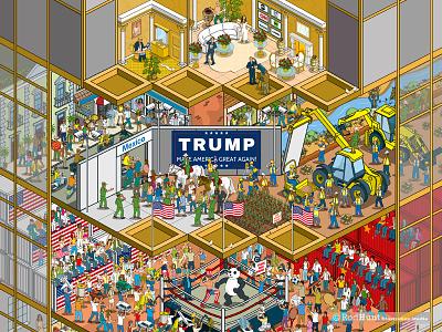 Doing Business in Trump's America: Business of Fashion - pt1 america business magazine editorial graphic detail satire trump isometric pixel art illustrator illustration