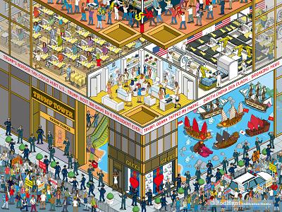 Doing Business in Trump's America: Business of Fashion - pt2 pixel art trump satire magazine isometric illustrator illustration graphic editorial detail business america