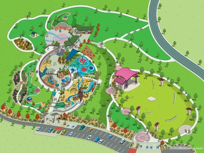 Centennial Central Park Map Illustration design way-finding isometric park cartography graphic information infographics maps map illustrator illustration