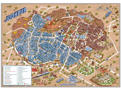 Jodhpur Urban Redevelopment Project Map Illustration india city cityscape tourism travel design graphic isometric maps map illustrator illustration