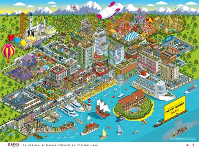 AIDES: #ShareTheLove HIV/AIDS Awareness Ad Campaign campaign social change map maps advertising cityscape design vector graphic pixel art illustrator isometric illustration