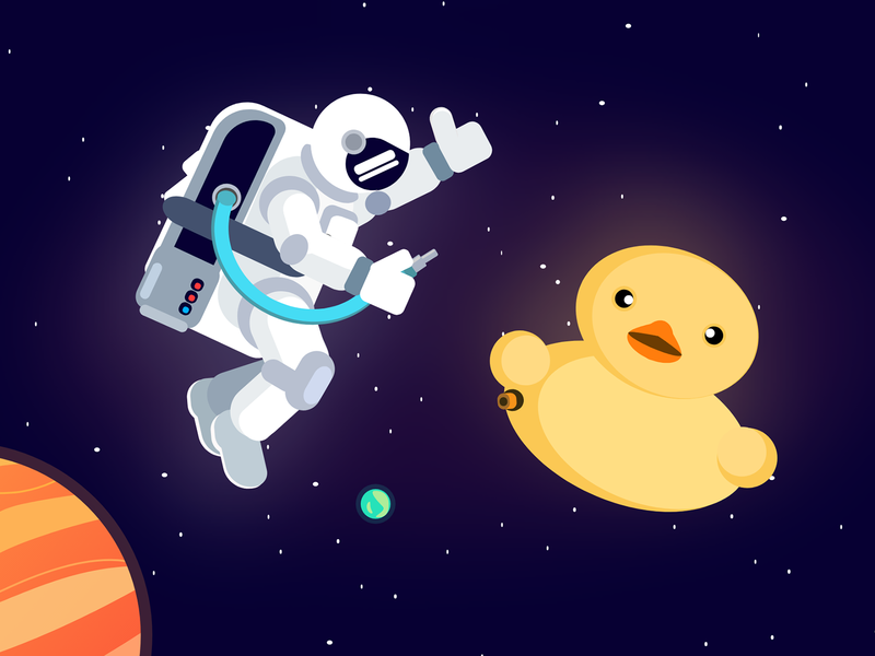 Spaceman and Duck spaceman duck stars space planet flat vector illustration design charachter art