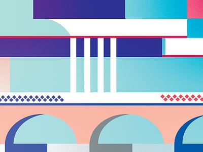 Bridge lines concept belfast branding graphic  design architecture geometry colors vector illustration flat design