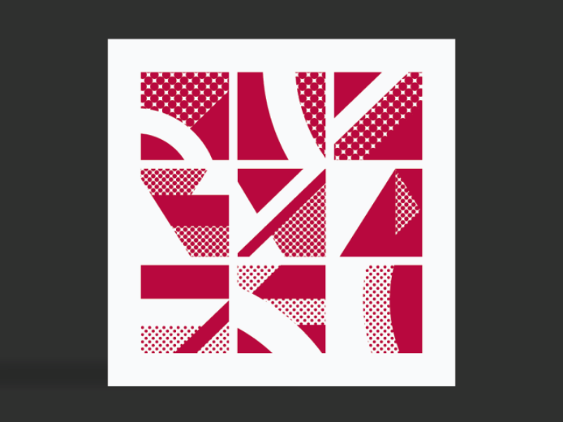 9 tiles - urban landscape architecture bright maroon shapes graphics graphicdesign screenprinting london