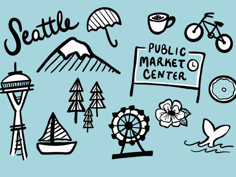 Seattle print sketchbook sketching doodles procreate art ipadproart procreate blue vector design illustration mountains love emerald city coffee pike place market space needle city seattle